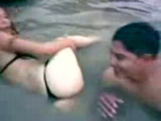 Latina Gets Surprised In The River From Behind Video