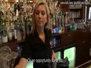 Smoking Blonde barmaid payed for Pussy pounding in the bar