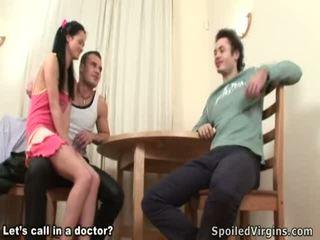 Voluptuous brunette virgin tastes two unbending rods