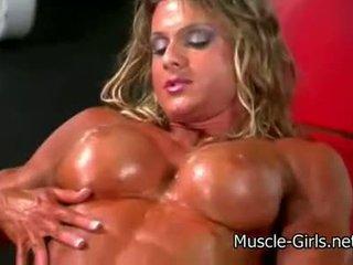Uzbudinātas muscle meitene masīvs female bodybuilder ripped stiprs b