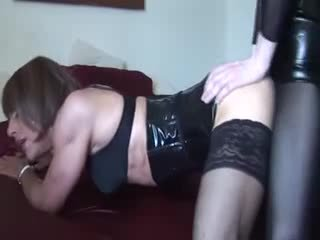 Lingeried crossdressers twosome