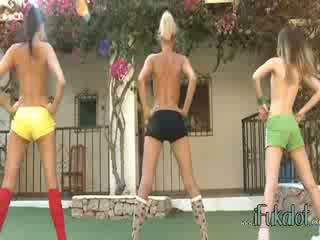 Trio naked lezzies making aerobic
