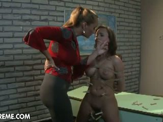 Mighty Mistress: Slave gets throated and tit fucked with a toy