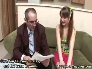 Voluptuous pusaudze studente receives creamed līdz viņai skolotāja