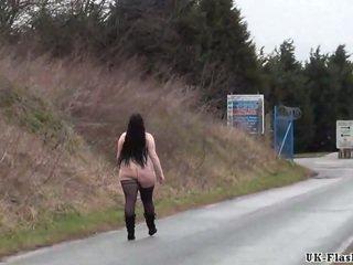 Fat amateur flasher Emmas public exhibitionism