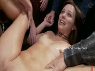 Mouth and ass get drilled in brutal public deepthroat and anal sex by group of men and women