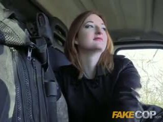 Fake Cop Hot ginger gets fucked in cops van