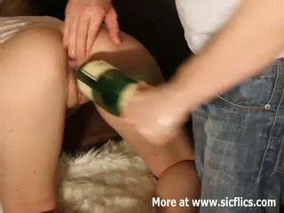 Extreme double fisting and champagne bottle fuck