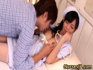 Hot asian nurse gets fingered