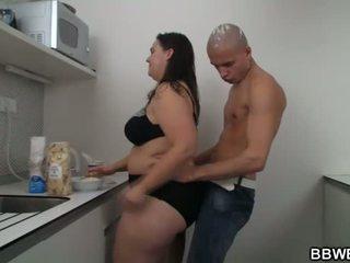 Καυτά bbw σεξ στο ο κουζίνα