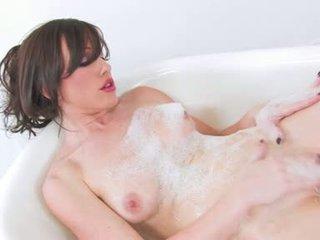 Enchanting hawt jennifer blank gives haar roze mink een heet wrijven totdat ze cums