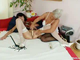 Hairy granny licks hot milf in lesbian...