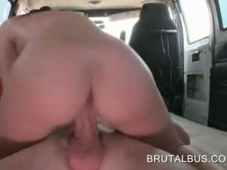 Tattooed amateur taking a brutal bus sex ride