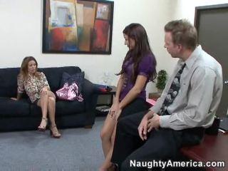 bruneta, lízať, kancelária sex