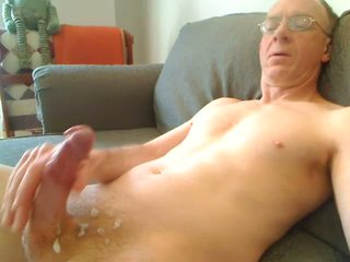 Grandpa jerking his cock for the camera