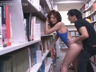 Bibliotēka hardcore jāšanās ar karstās aziāti tramp uz