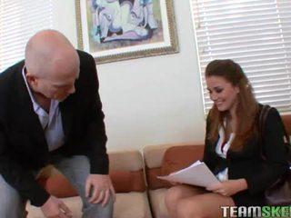 Lovely brunette allie haze fucks her job interviewer in office