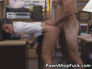 Bright Eyed Brunette Fucked And Taking Facial In Pawn Shop