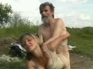 Sexy girl smiles while homeless old man fucking her wet vagina