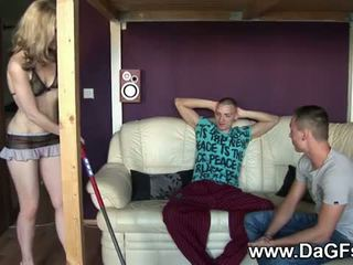 DaGFs: Teen house keeper gets two big cocks for fuck.
