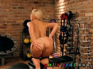 Girlfriends Fit blonde girl with perfect plump pussy and ass having sweaty workout