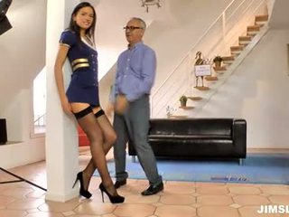 Hot young girl with old geezer