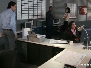 big tits, office, interracial