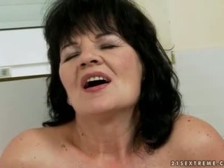 Young man fucking chubby dark haired granny