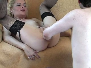 Ugly but very horny housewife blows her husband shaft