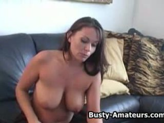 Busty Amateur Lesley Masturbates after Her First.