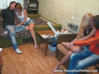 Two young couples fuck hard