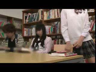 Schoolgirl drilled by library geek 15