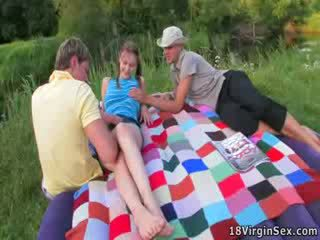 Gorgeous virgin gets deflowered during picnic