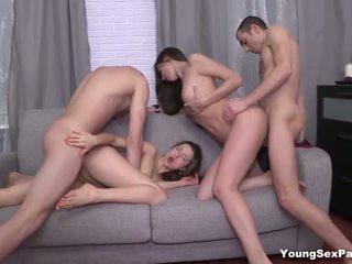 jaunas, cumshots, grupinis seksas