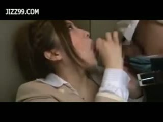 Beauty office lady bukkake blowjob in elevator