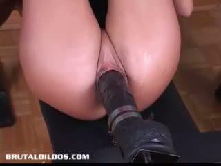 Sandy fucked by big dildo