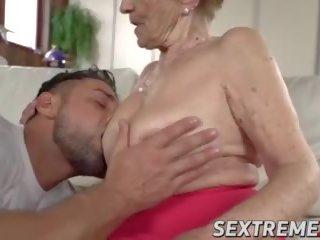 babička, velká prsa, big cock