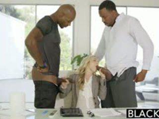 Blacked perfektno blondinke karla kush s 2 pošast črno cocks