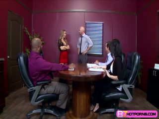 Hot Nicole Aniston breaks up a meeting and fucks the boss