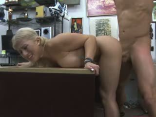 Blonde Slut Doggystyled On A Desk In Pawn Shop Office