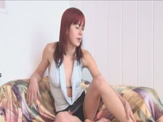 Shy redhead undressing and masturbate