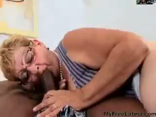 Hairy Granny In Glasses Gets Bbc Latin...