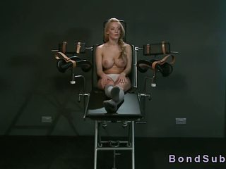 Strapped in gyno chair busty babe vibed