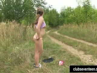 Ponytailed teen Alessandra masturbate outdoor