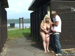 Granny takes it from behind in the changing room