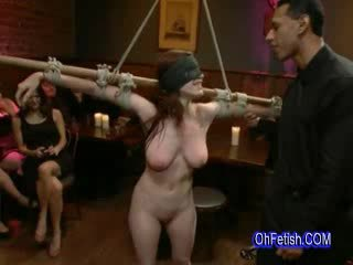 Tied naked and slapped