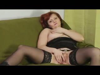 Hairy Redhead Granny in Stockings Fuck...