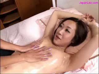 asian Girl Getting Her Melons Massaged With Oil puss Licked Fingered On The Bed