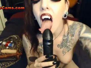 Pierced Vampire Babe Loves Anal