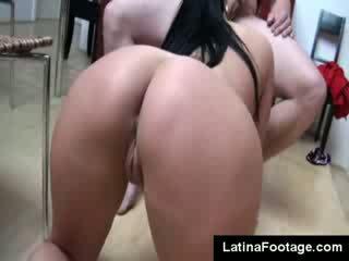 Hot big titties dark haired Carmen Croft sucks husband dong